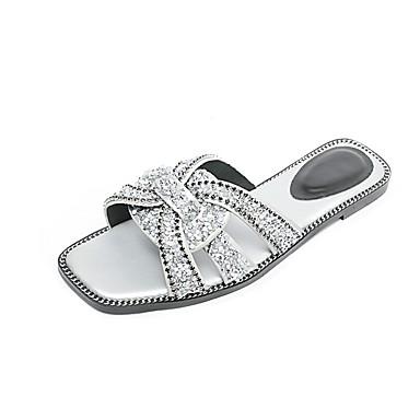 Zapatillas Negro Confort Mujer verano Primavera 06862113 Zapatos Plateado y Ante flops Tacón Plano flip wRqSRXP