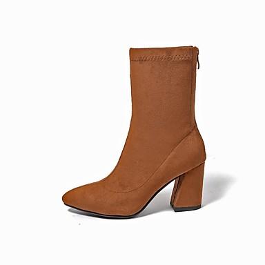Talon hiver Bottes Automne Confort 06848640 Tissu Femme Marron Chaussures Bottier Noir élastique xF0AwnHR