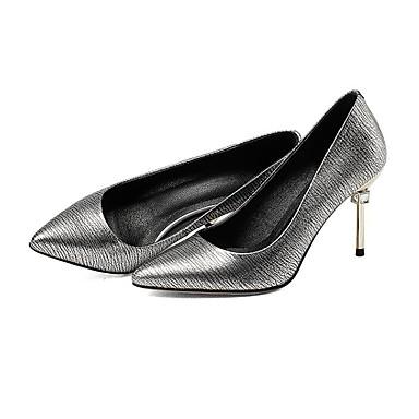 Cuir Talon Chaussures Bourgogne à Femme 06841616 Argent Talons Aiguille Basique Chaussures Automne Confort Escarpin Nappa avwv5q1C
