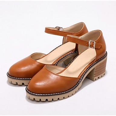 Pump Negro 06849467 Mujer Tacones Primavera Almendra Básico Zapatos Amarillo Cuadrado PU Tacón qff7pt8g