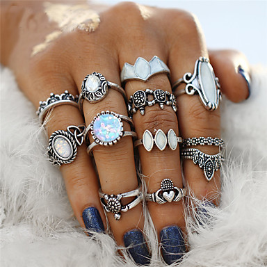 ... Retro Hollow Out Ring Nail Finger Ring Midi Ring Acrylic Alloy Flower Turtle Ladies Bohemian Punk Ring Jewelry Silver For Party Halloween Gift 12pcs