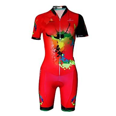 Women s Short Sleeve Triathlon Tri Suit - Red Plus Size Bike Reflective  Strips Sweat-wicking. cheap Cycling Jersey ... 9b94523ed