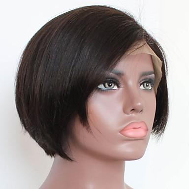 Mensen Remy Haar Kanten Voorkant Pruik Bobkapsel Gelaagd kapsel Middelste stuk stijl Braziliaans haar BodyGolf Pruik 130% Haardichtheid met babyhaar Natuurlijke haarlijn Afro-Amerikaanse pruik 100