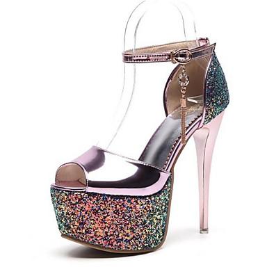 88ce5fae9407 Women s PU(Polyurethane) Spring Comfort Heels Stiletto Heel Gold   Silver    Pink   Daily