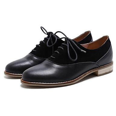 Cuir Oxfords Femme Chaussures Bout Confort Nappa Talon 06840980 fermé Plat Printemps Noir Eté TCBOOx5wq