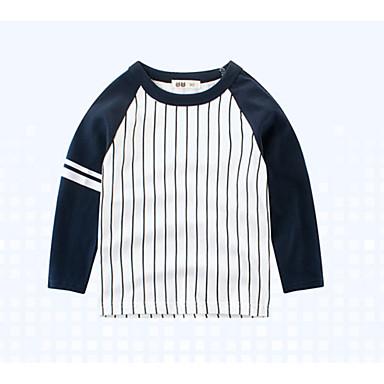 baratos Camisas para Meninos-Infantil Para Meninos Básico Diário Sólido Listrado Patchwork Manga Longa Padrão Algodão Camiseta Branco