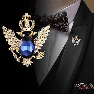 abordables Epingles & Broches-Homme Zircon Broche Rétro Tendance Mode Elégant British Broche Bijoux Noir Bleu Pour Mariage Vacances