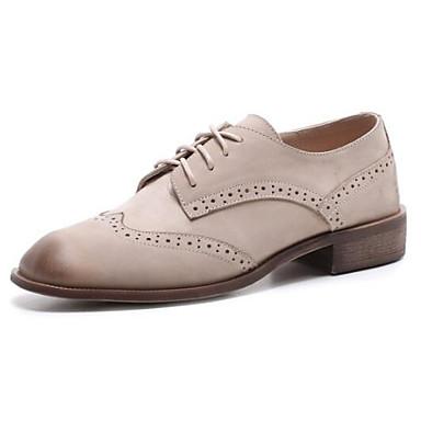 Nappa Oxfords Cuir Printemps Talon 06846241 Bout Blanc Femme fermé Eté Confort Marron Chaussures Bottier Noir pEqHYnxwZ