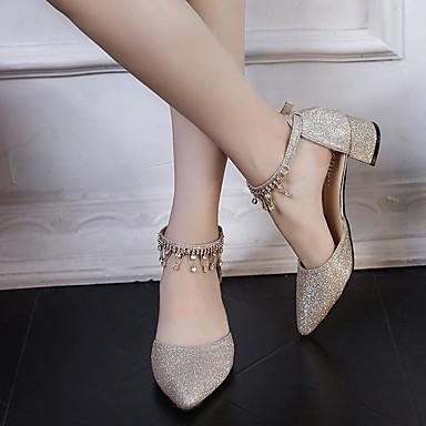 Cuadrado Puntiagudo Dos Plateado Dedo Tacones Mujer 06848334 PU Zapatos Dorado Piezas Tacón y D'Orsay Verano wzRZ4P