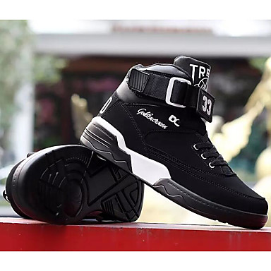 Men's Comfort Shoes Cowhide Spring &  Fall Athletic / Shoes Basketball Shoes Black / Athletic Black and White / Red 8644a6