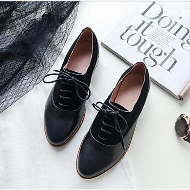 Printemps Femme Bout Chaussures Plat Nappa Eté Confort Oxfords Talon Noir Cuir fermé 06840980 wwxtzdq