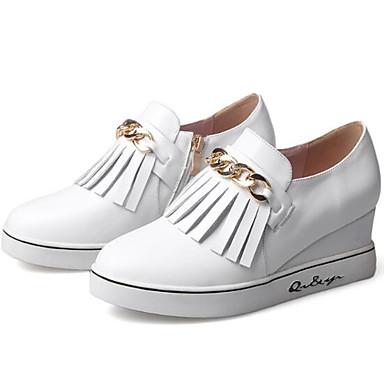 Bout compensée Mocassins de Femme Hauteur Printemps et Chaussons 06848196 fermé Cuir Eté Blanc Confort Noir Nappa Chaussures D6148 semelle 4xASxq6