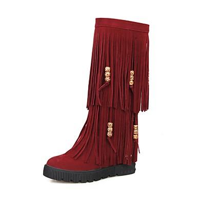 Talon Polyuréthane Bout hiver Beige Plat Chaussures Bottes Bottes Rouge Automne Femme 06857345 Marron Mode la rond Bottes à 5tzPnw