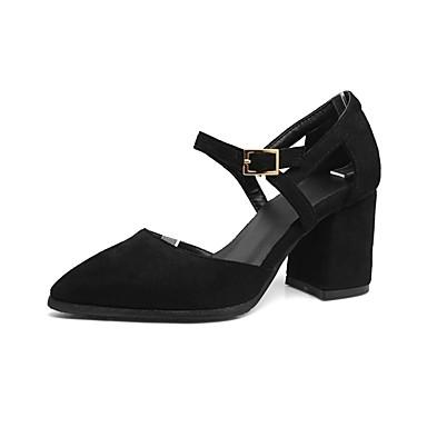 Primavera Zapatos Confort Marrón 06857244 Cuadrado Tacones Ante Gris Negro Tacón verano Mujer Zgqwdw