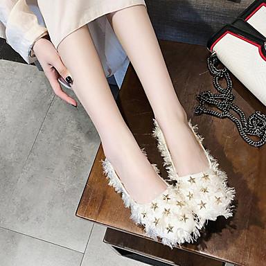 Blanco Dedo Negro Otoño Zapatos redondo Mujer 06857160 Plano Confort PU Tacón Bailarinas 1aE0zq