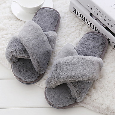 cheap Home Textiles-Women's Slippers House Slippers Ordinary Rabbit Fur solid color Shoes
