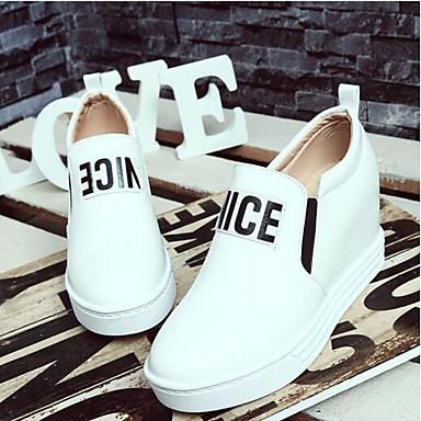 Negro Blanco Mujer Tacón verano Zapatos Confort Punta deporte de Cuero Cerdo Zapatillas Hebilla Primavera Cuña cerrada Rojo 06841733 de aqgAapw