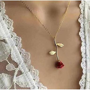 Dame Anheng Halskjede Y Halskjede Klassisk Elegant Roser damer Hengende Romantikk Mote Legering Sølv Rød Rose Gull 51 cm Halskjeder Smykker 1pc Til Ut på byen Valentine