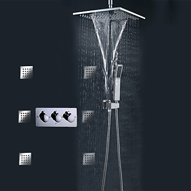 The Cheapest Price Led Brushed Nickel Waterfall Rain Shower Faucet Single Handle Mixer+hand Sprayer Consumers First Bathroom Fixtures