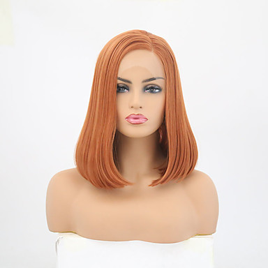 Synthetic Lace Front Wig Straight Style Side Part Lace Front Wig Brown Orange Synthetic Hair 12-14 inch Women's Adjustable / Heat Resistant / Party Brown Wig Short Natural Wigs / Yes