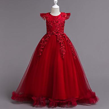 رخيصةأون ملابس الأميرات-فستان طويل للأرض كم قصير ترتر / متعدد الطبقات لون سادة مناسب للحفلات / مناسب للعطلات رياضي Active / حلو للفتيات أطفال / قطن