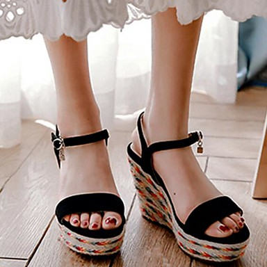 Sandales de compensée Femme de mouton Chaussures Confort semelle Noir Peau Hauteur 06848121 Eté Chair SqFgYw4F