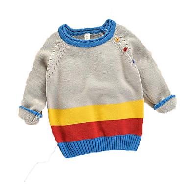 baratos Suéteres & Cardigans para Meninos-Bébé Para Meninos Básico Sólido Manga Longa Suéter & Cardigan Azul Marinha