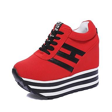 de Lazo Con Mujer 06857167 Tacón Blanco amp; Tela deporte Rojo Primavera Otoño Negro Zapatillas Zapatos Cuña xYTwYX8