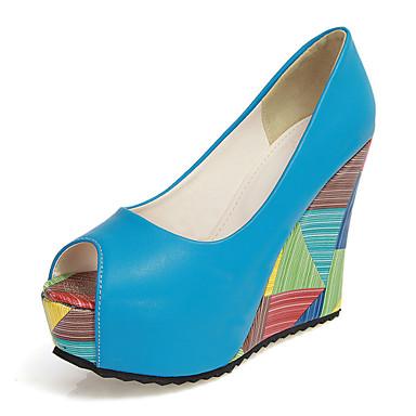 Women's Wedge Sandals PU(Polyurethane) Spring & Summer Heels Wedge Heel Blue Peep Toe Beige / Blue Heel / Almond / Wedding / Party & Evening c718bd