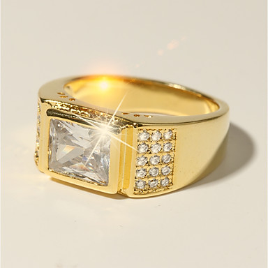 voordelige Herensieraden-Heren Ring 1pc Goud Messinki Gesimuleerde diamant 24K Gold Plated Vierkant Klassiek Vakantie Modieus Bruiloft Formeel Sieraden Klassiek Stijlvol patiencespel Geloven Cool