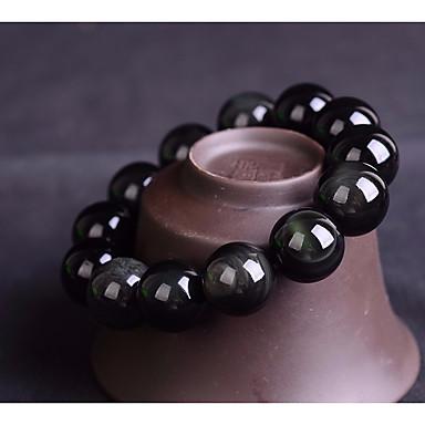 billige Motearmbånd-Dame Obsidian Perlearmbånd Perler Kreativ damer Asiatisk Enkel Grunnleggende Avslappet / Sportslig Stein Armbånd Smykker Svart Til Daglig Skole