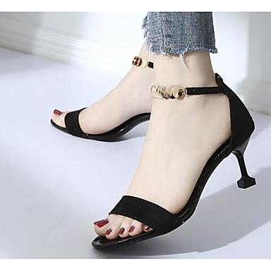 Eté Femme Chaussures Sandales Noir Aiguille Confort 06843224 Vert Basique Polyuréthane Escarpin Talon Amande HT1TB