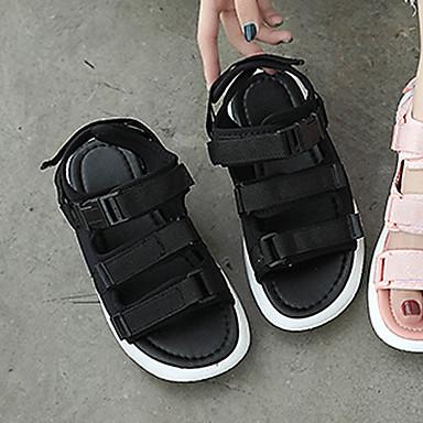 Zapatos Rosa Plano Algodón Sandalias Tacón Blanco Verano Puntera Confort 06846245 Mujer abierta Negro TUd4qxwPT