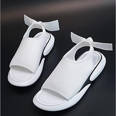 Talon Confort Eté Rose Tissu 06849950 élastique Sandales Printemps Plat Noir Bout ouvert Blanc Femme Chaussures wqa0IfaX