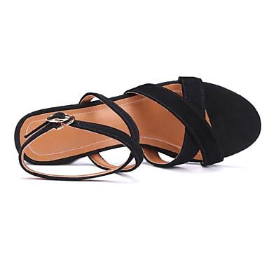 Femme Noir Rouge Talon Chaussures Daim 06864753 Confort Eté Sandales Bottier rZCSrPqBw