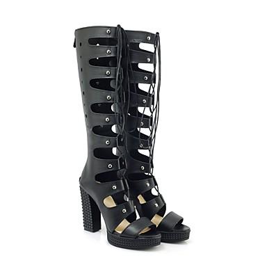 été 06848397 Sandales Talon Printemps Confort Chaussures Noir Polyuréthane Bottier Blanc Femme gtqpvx
