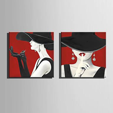 billige Trykk-Trykk Valset lerretskunst Strukket Lerret Trykk - Mennesker Moderne Moderne Kunsttrykk
