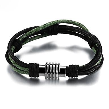 voordelige Herensieraden-Heren Wikkelarmbanden loom Bracelet Gevlochten Magnetisch Uniek ontwerp modieus Paracord Armband sieraden Zwart Voor Straat / Titanium Staal