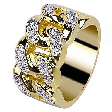 960e10ed Herre Kubisk Zirkonium Elegant Ring 18K Gullbelagt Strass Kreativ Stilfull  Europeisk trendy scottish Motering Smykker Gull Til Bryllup Maskerade ...