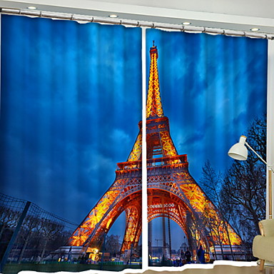 Modern 3D Curtains Two Panels Curtain / Blackout / Bedroom