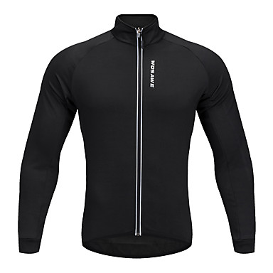 WOSAWE Unisex Long Sleeve Cycling Jersey - Black Black / Red Solid Color Bike Jersey Top Polyester / Stretchy