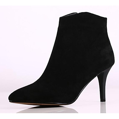 Women's Bootie Suede / Sheepskin Fall Heels Stiletto Heel Pointed Boots Toe Booties / Ankle Boots Pointed Satin Flower Black / Gray / Almond e84b7c