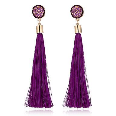 6e1e0b80b66026 Women's Tassel Long Drop Earrings Hanging Earrings Rhinestone Earrings  Roses Flower Ladies Bohemian European Fashion Elegant Jewelry Green / Pink  / Light ...