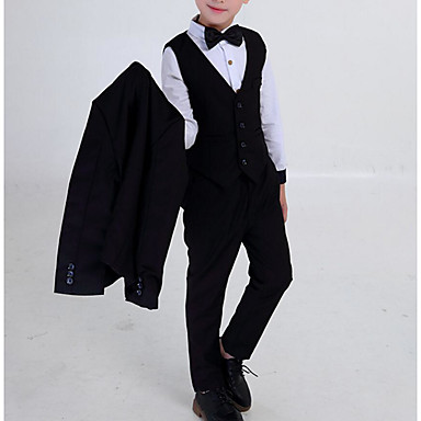 cheap Boys' Jackets & Coats-Kids Boys' Basic / Street chic School / Holiday Solid Colored Print Long Sleeve Regular Regular Cotton / Polyester Suit & Blazer Black
