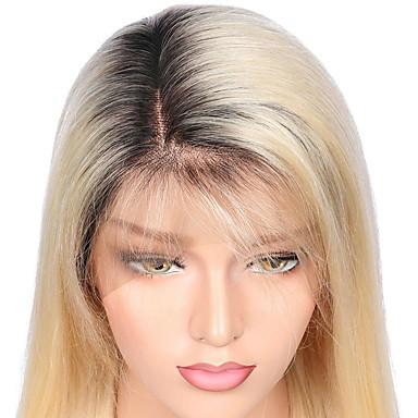 billige Blondeparykker med menneskehår-Ekte hår Blonde Forside Parykk Side del Wendy stil Brasiliansk hår Rett Parykk 130% Hair Tetthet med baby hår Ombre-hår 100% Jomfru ubehandlet Blekte knuter Flerfarvet Dame Lang Blondeparykker med