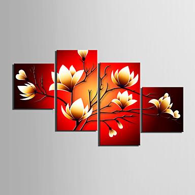 povoljno Printevi-Print Rolled Canvas Prints Stretched Canvas Prints - Mrtva priroda Cvjetni / Botanički Moderna Četiri plohe Umjetničke grafike