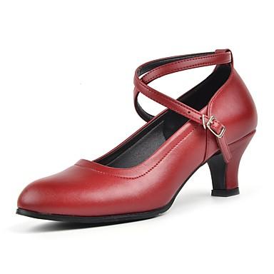 baratos Shall We® Sapatos de Dança-Mulheres Sapatos de Dança Couro Sapatos de Dança Moderna Recortes Salto Salto Cubano Personalizável Preto / Vermelho / Prateado / Espetáculo / EU39