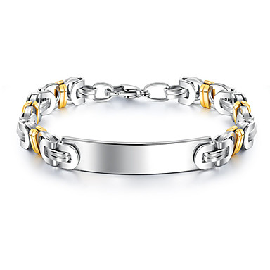 voordelige Herensieraden-Heren Armband Tweekleurig Schakelketting Stijlvol Europees 18 Karaats Verguld Armband sieraden Wit Voor Straat / Titanium Staal / Platina Verguld