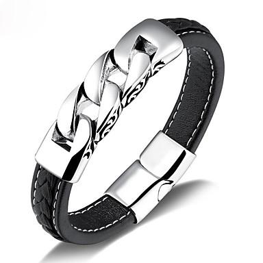 voordelige Herensieraden-Heren Lederen armbanden Vintagestijl Punk Schots aitoa nahkaa Armband sieraden Zwart Voor Straat / Titanium Staal / Platina Verguld
