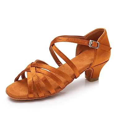 baratos Shall We® Sapatos de Dança-Mulheres Cetim Sapatos de Dança Latina Salto Salto Grosso Personalizável Marron / Vermelho / Azul / Couro
